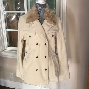 Ann Taylor LOFT Off-white pea coat jacket NWOT